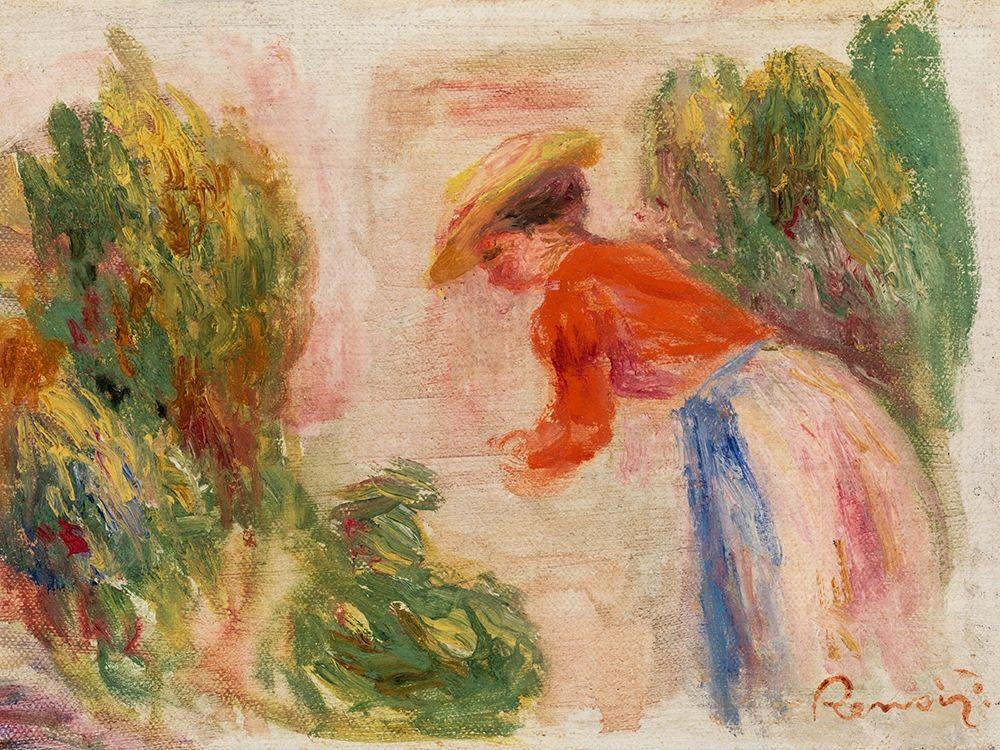konfigurieren des Kunstdrucks in Wunschgröße Woman Gathering Flowers 1910 von Renoir, Pierre-Auguste