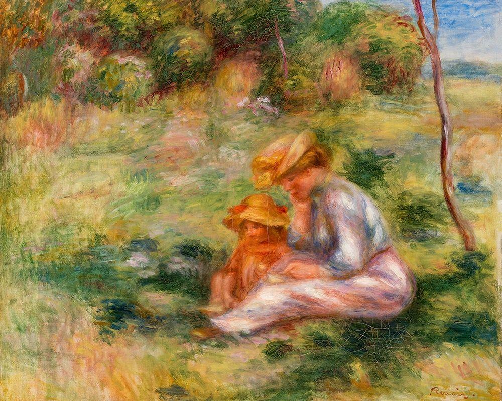 konfigurieren des Kunstdrucks in Wunschgröße Woman and Child in the Grass 1898 von Renoir, Pierre-Auguste