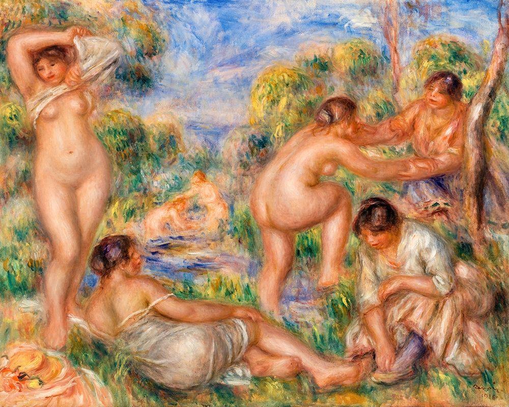konfigurieren des Kunstdrucks in Wunschgröße Bathing Group 1916 von Renoir, Pierre-Auguste
