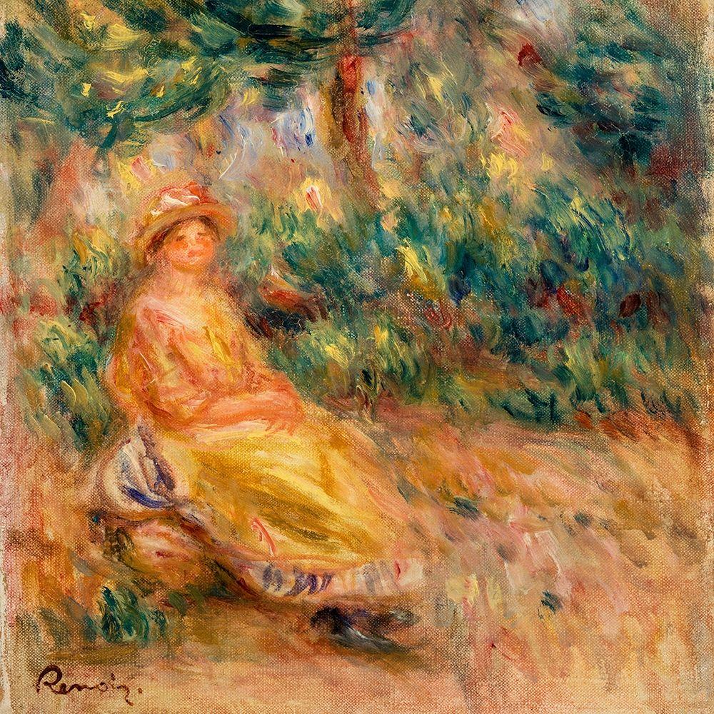 konfigurieren des Kunstdrucks in Wunschgröße Woman in Pink and Yellow in a Landscape von Renoir, Pierre-Auguste