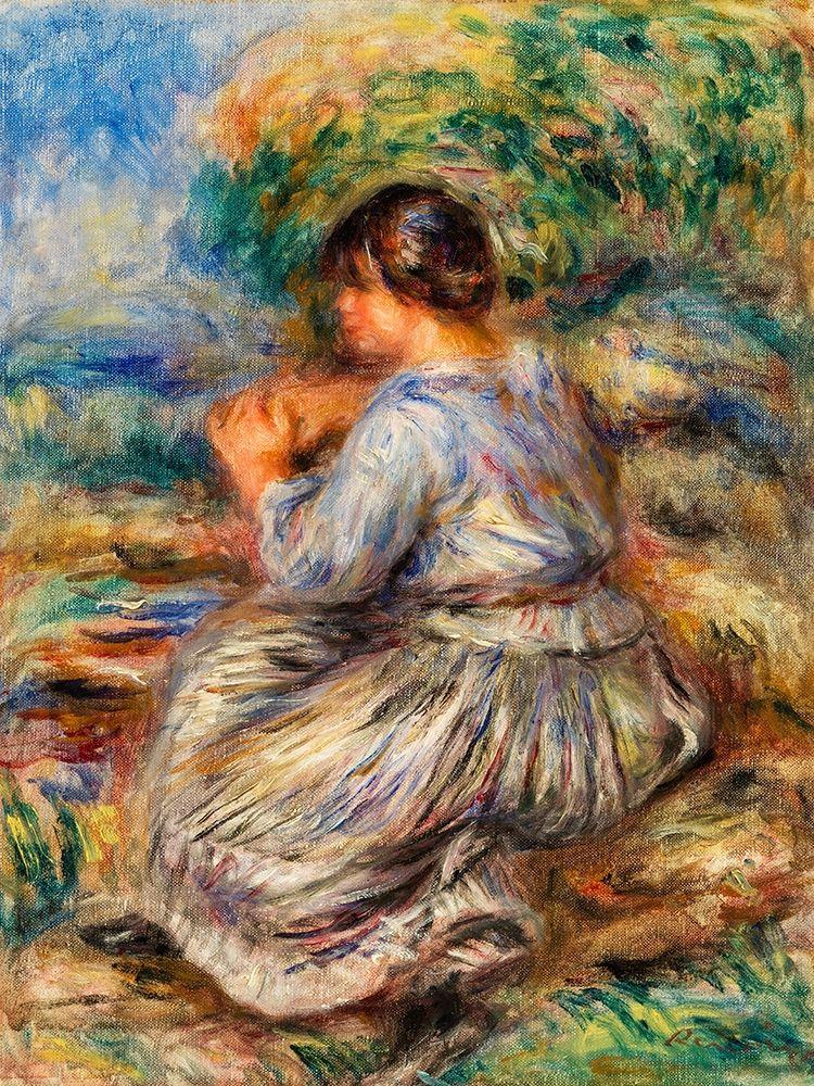 konfigurieren des Kunstdrucks in Wunschgröße Girl Seated in a Landscape 1914 von Renoir, Pierre-Auguste