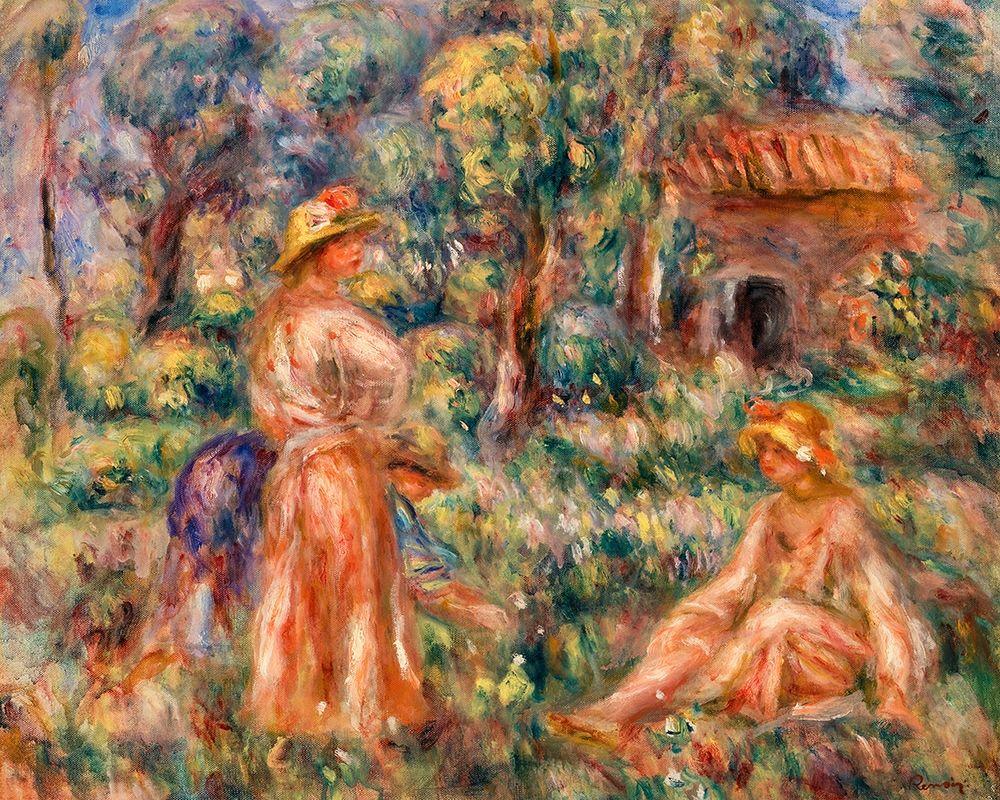 konfigurieren des Kunstdrucks in Wunschgröße Girls in a Landscape 1918 von Renoir, Pierre-Auguste