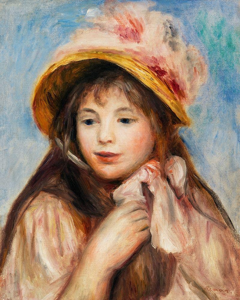 konfigurieren des Kunstdrucks in Wunschgröße Girl with Pink Bonnet 1894 von Renoir, Pierre-Auguste