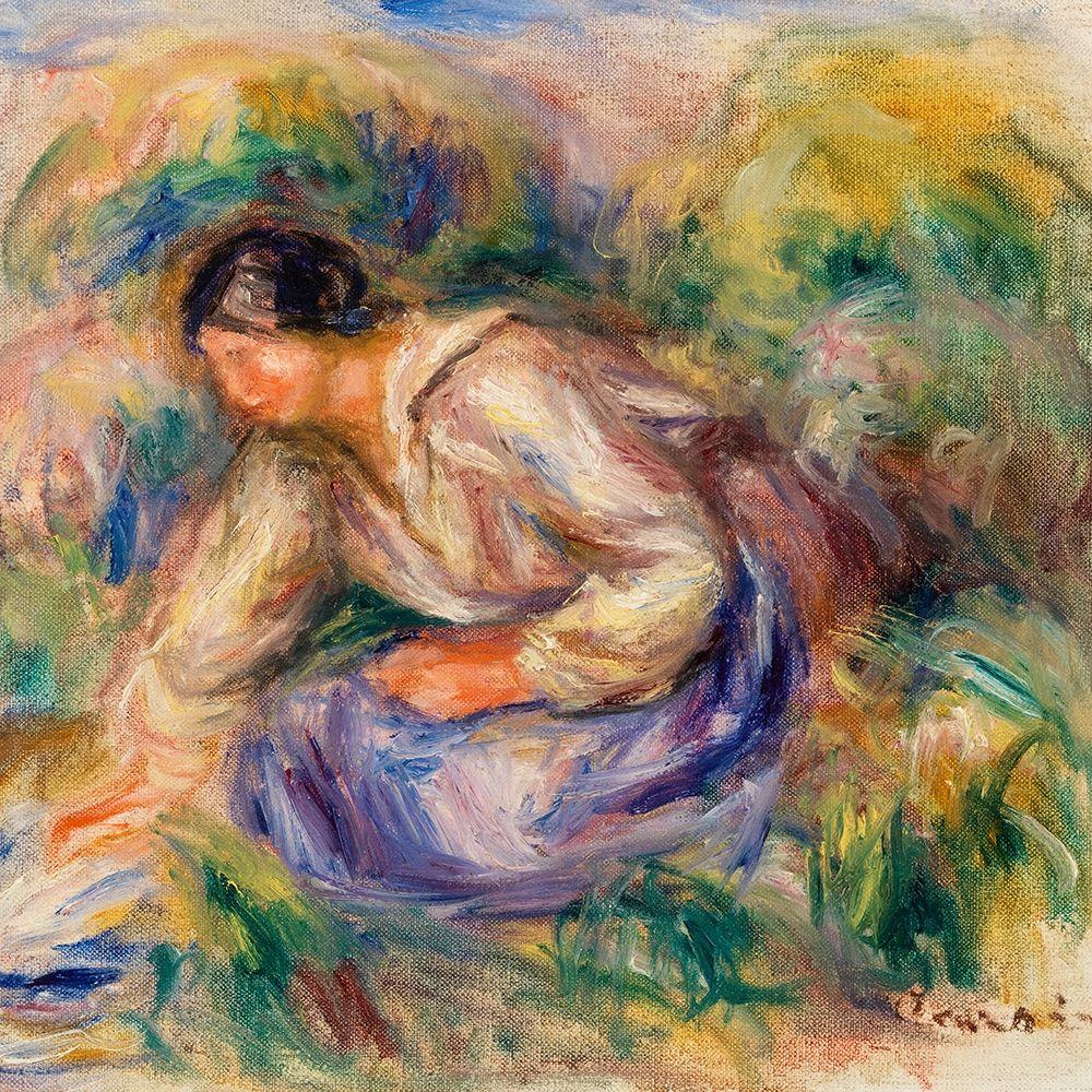 konfigurieren des Kunstdrucks in Wunschgröße Woman in Blue Skirt 1917 von Renoir, Pierre-Auguste