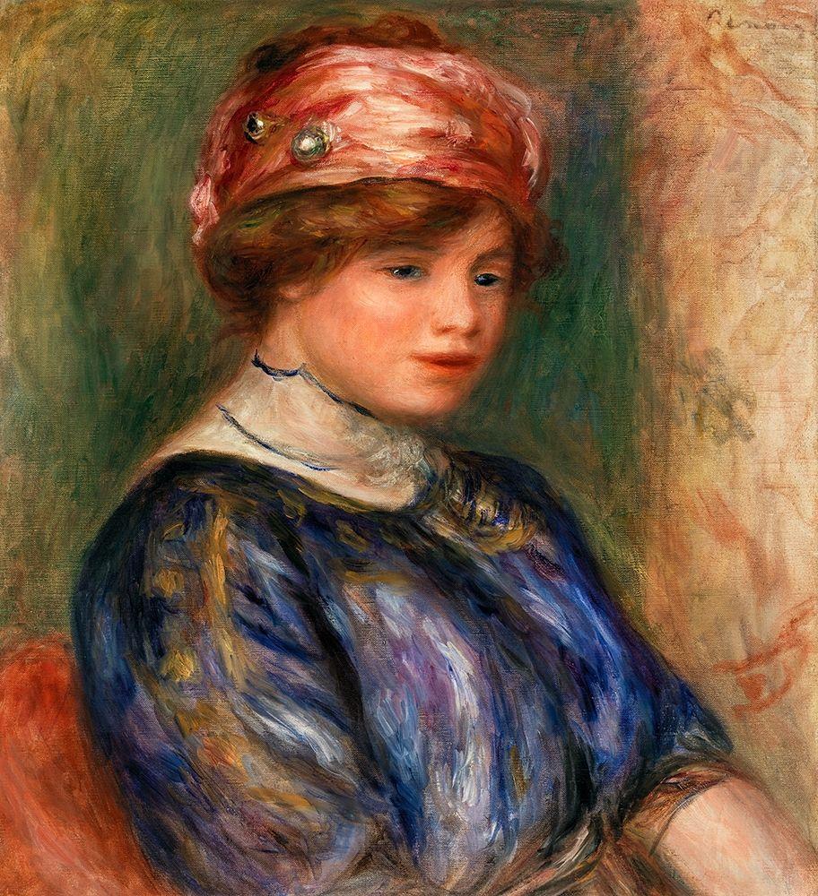 konfigurieren des Kunstdrucks in Wunschgröße Young Woman in Blue, Bust 1911 von Renoir, Pierre-Auguste