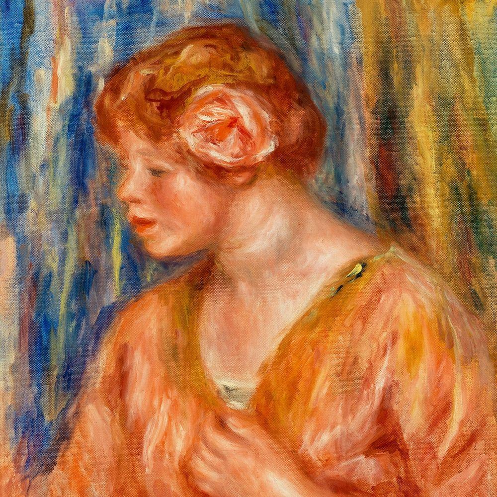 konfigurieren des Kunstdrucks in Wunschgröße Young Woman with Rose 1917 von Renoir, Pierre-Auguste