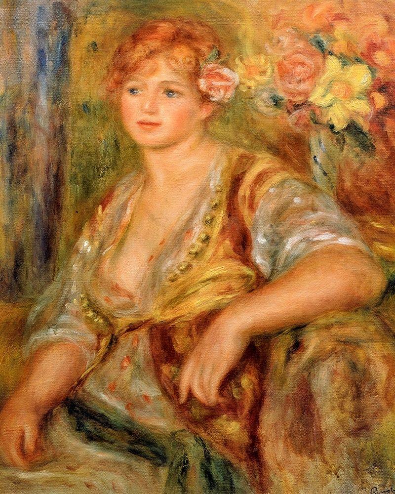 konfigurieren des Kunstdrucks in Wunschgröße Blonde Girl with a Rose von Renoir, Pierre-Auguste