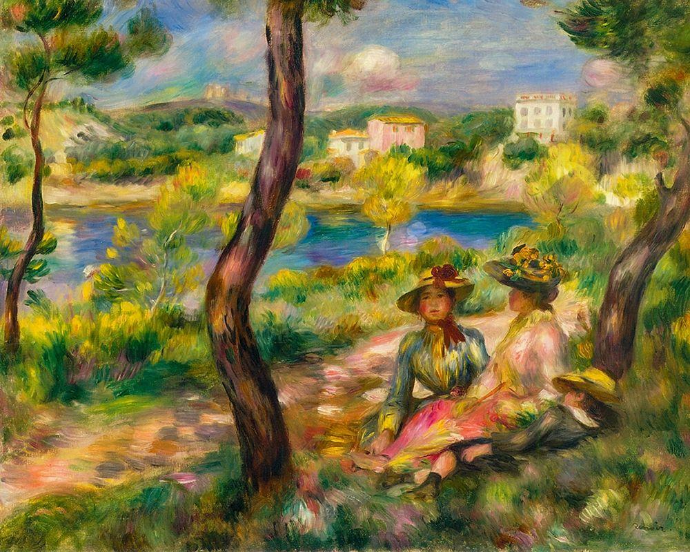 konfigurieren des Kunstdrucks in Wunschgröße Beaulieu, women and boy von Renoir, Pierre-Auguste