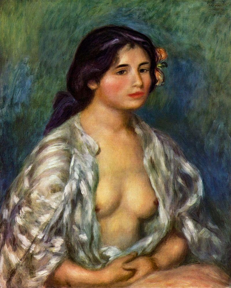 konfigurieren des Kunstdrucks in Wunschgröße Gabrielle┬áwith open blouse von Renoir, Pierre-Auguste