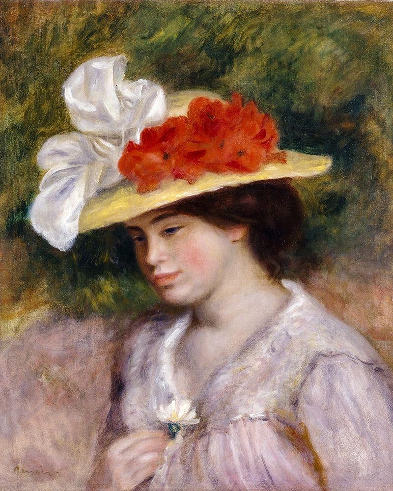 konfigurieren des Kunstdrucks in Wunschgröße Woman in a Flowered Hat von Renoir, Pierre-Auguste