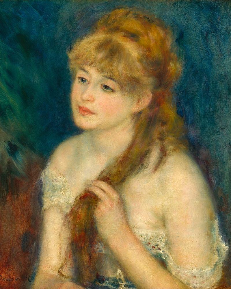 konfigurieren des Kunstdrucks in Wunschgröße Young Woman Braiding Her Hair von Renoir, Pierre-Auguste