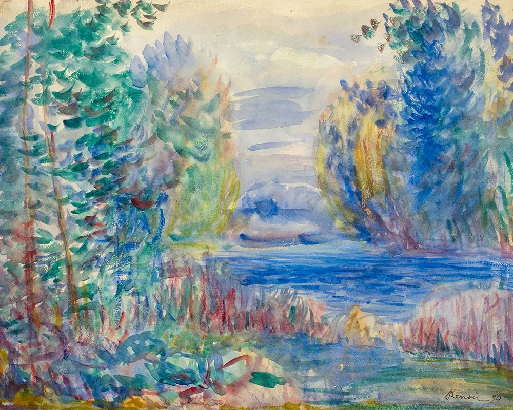 konfigurieren des Kunstdrucks in Wunschgröße River Landscape, 1890 von Renoir, Pierre-Auguste