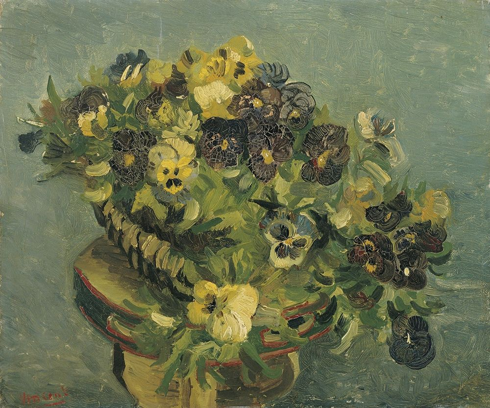 konfigurieren des Kunstdrucks in Wunschgröße Basket of pansies on a small table von Van Gogh, Vincent