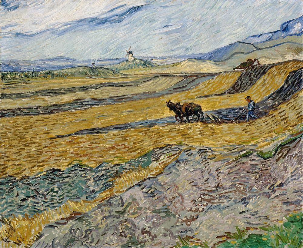 konfigurieren des Kunstdrucks in Wunschgröße Enclosed Field with Ploughman von Van Gogh, Vincent