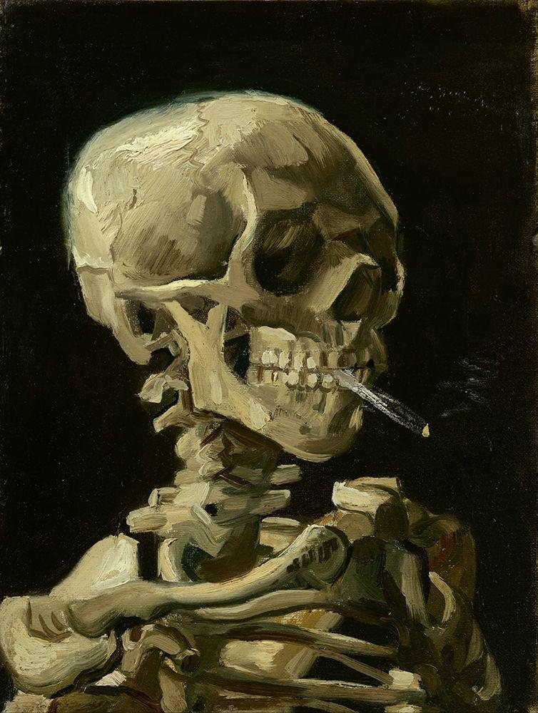 konfigurieren des Kunstdrucks in Wunschgröße Head of a skeleton with a burning cigarette von Van Gogh, Vincent