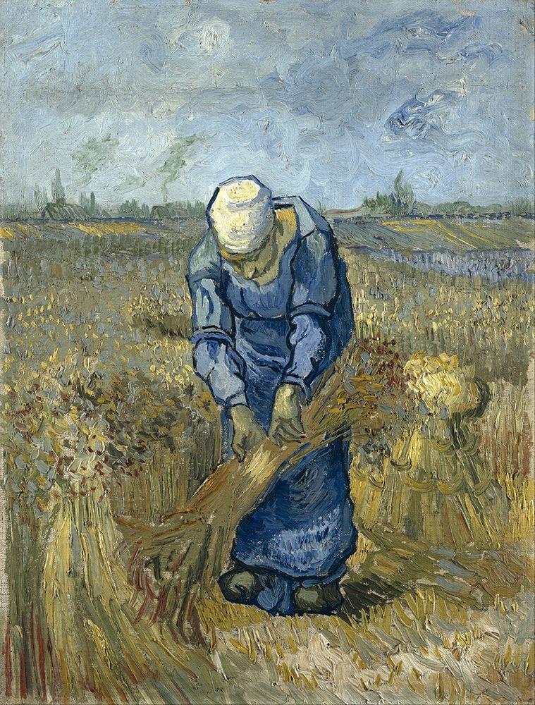 konfigurieren des Kunstdrucks in Wunschgröße Peasant woman binding sheaves von Van Gogh, Vincent