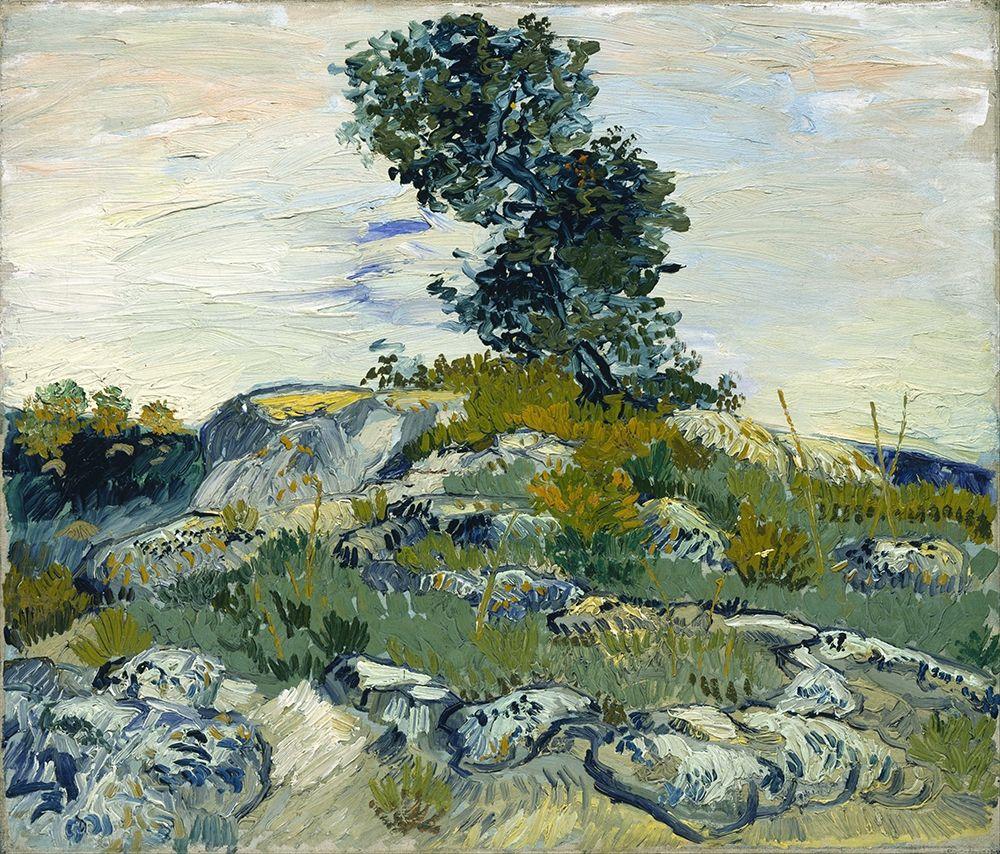 konfigurieren des Kunstdrucks in Wunschgröße Rocks with Oak Tree von Van Gogh, Vincent