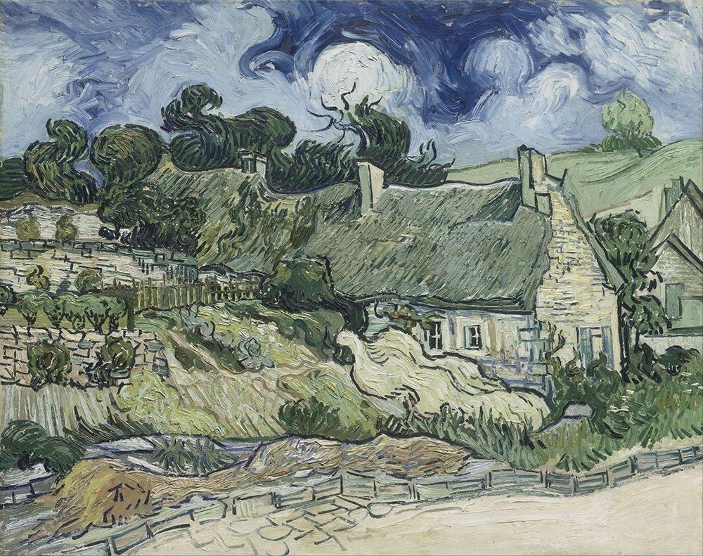 konfigurieren des Kunstdrucks in Wunschgröße Thatched Cottages at Cordeville von Van Gogh, Vincent