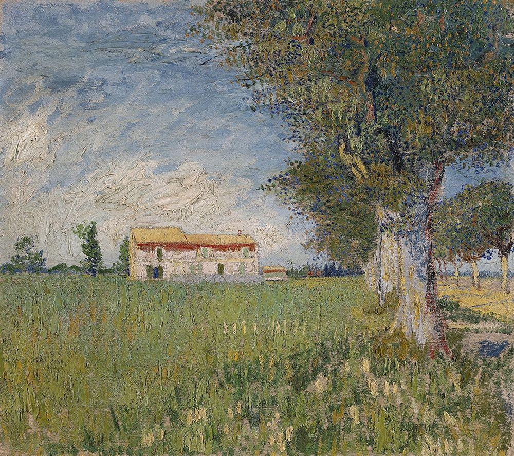 konfigurieren des Kunstdrucks in Wunschgröße Farmhouse in a wheat field von Van Gogh, Vincent