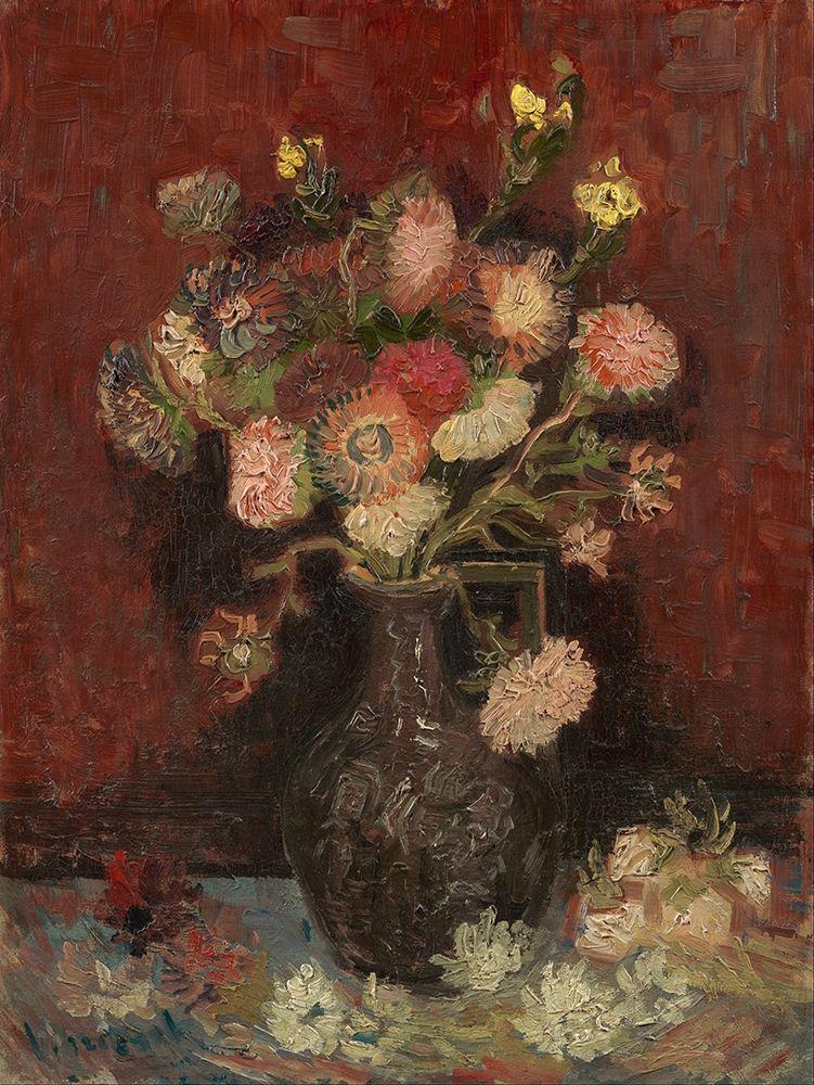 konfigurieren des Kunstdrucks in Wunschgröße Vase with Chinese asters and gladioli von Van Gogh, Vincent