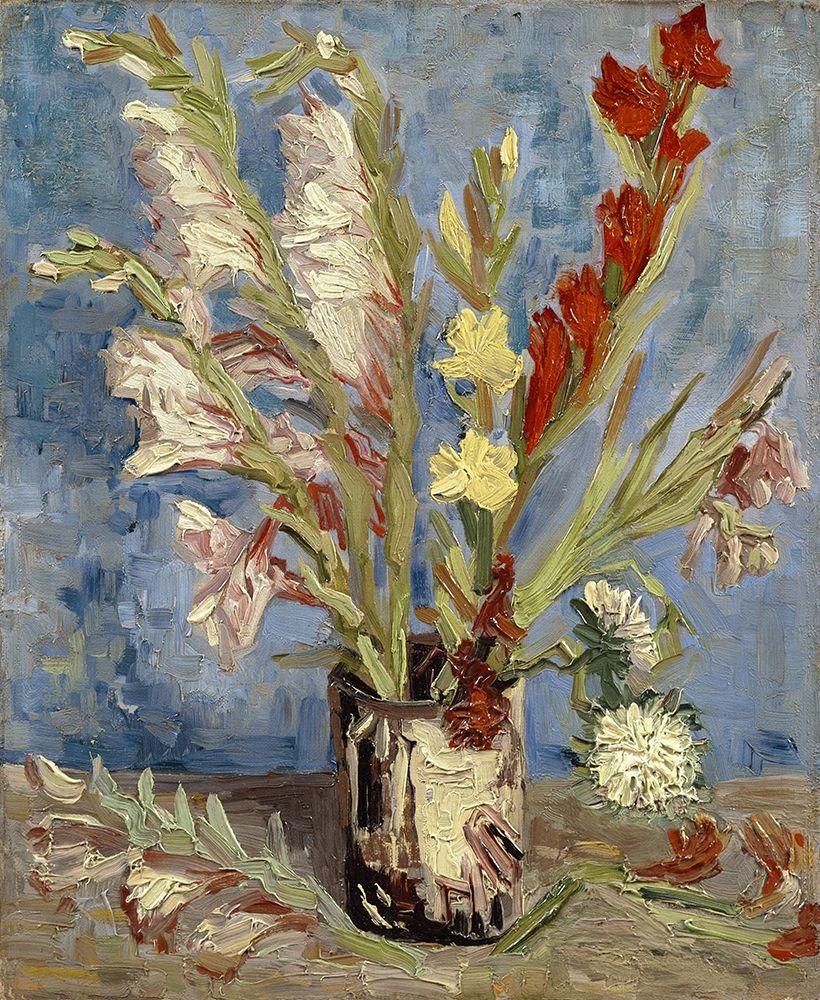 konfigurieren des Kunstdrucks in Wunschgröße Vase with gladioli and China asters von Van Gogh, Vincent