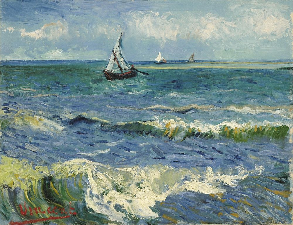 konfigurieren des Kunstdrucks in Wunschgröße Seascape near Les Saintes-Maries-de-la-Mer von Van Gogh, Vincent