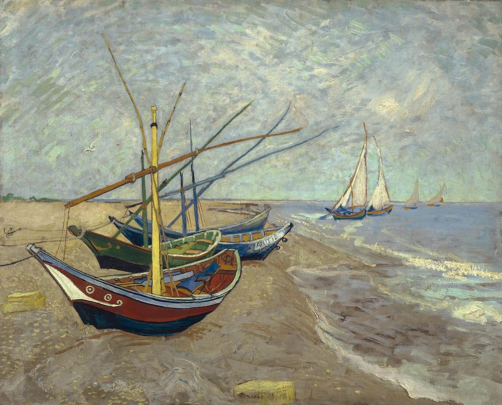 konfigurieren des Kunstdrucks in Wunschgröße Fishing boats on the beach at Les Saintes-Maries-de-la-Mer von Van Gogh, Vincent