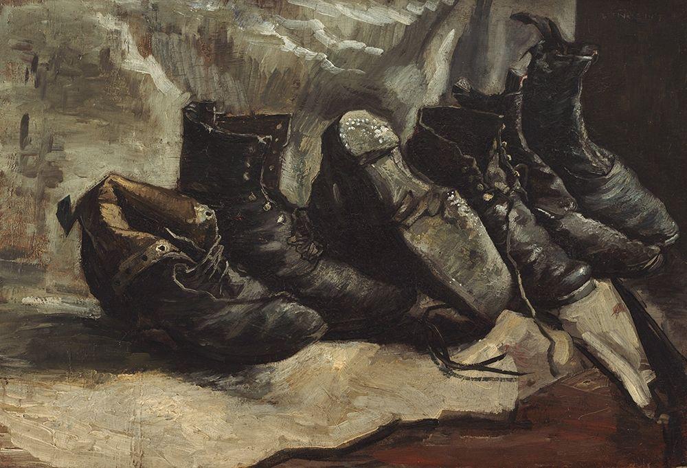 konfigurieren des Kunstdrucks in Wunschgröße Three pairs of shoes von Van Gogh, Vincent