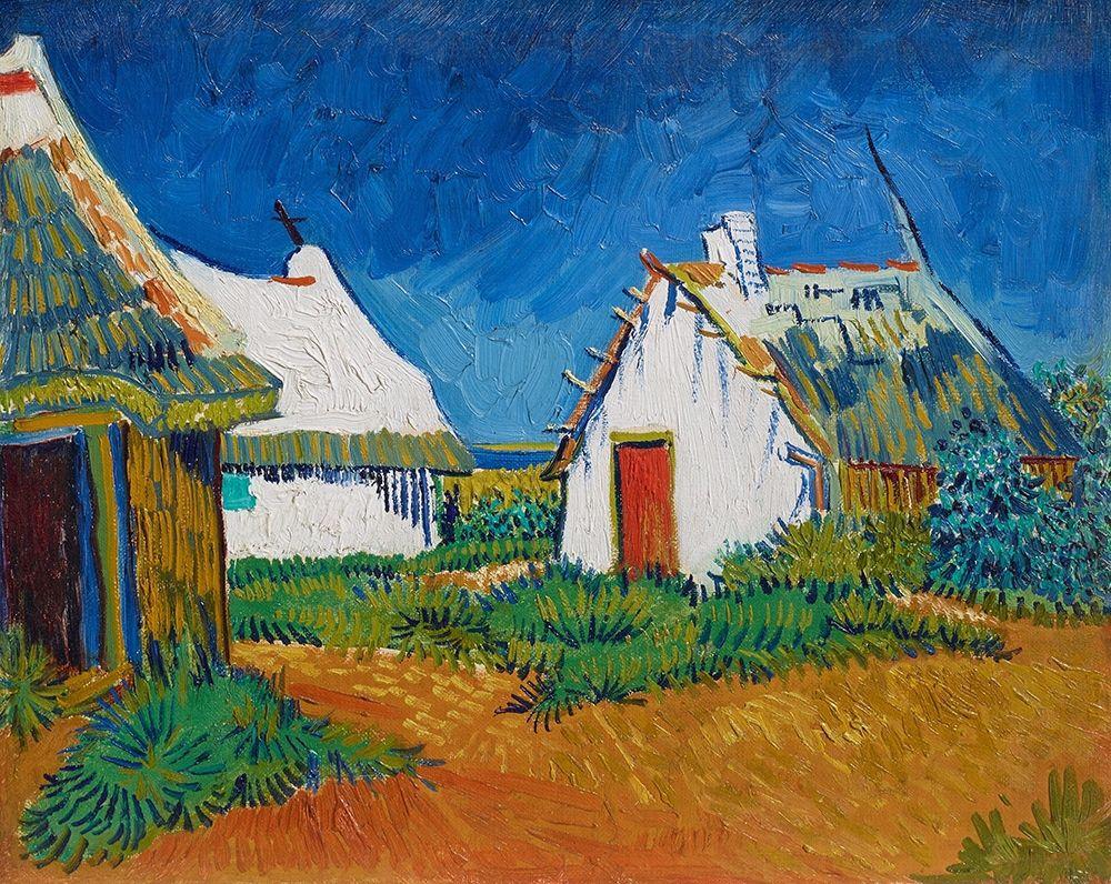 konfigurieren des Kunstdrucks in Wunschgröße Three white cottages in Saintes-Maries von Van Gogh, Vincent