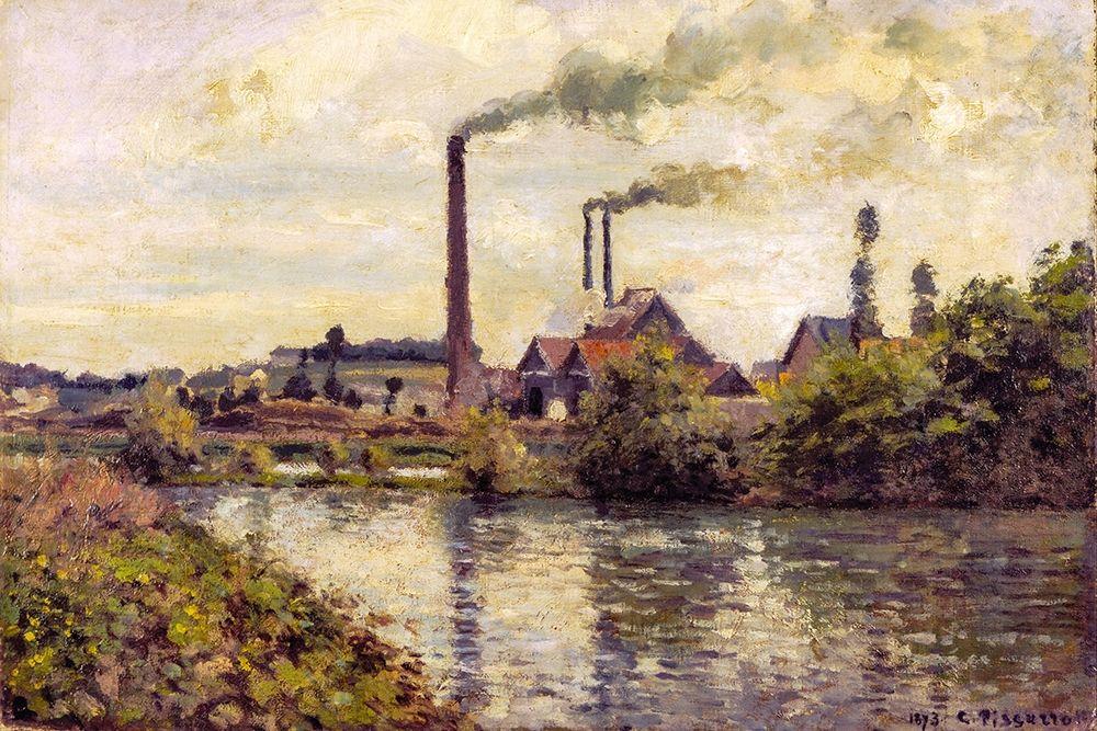 konfigurieren des Kunstdrucks in Wunschgröße The Factory at Pontoise von Pissarro, Camille