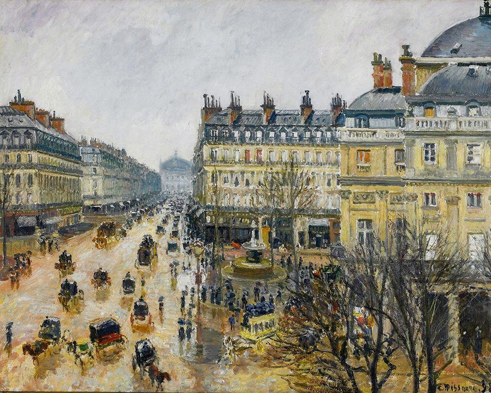 konfigurieren des Kunstdrucks in Wunschgröße Place du Theatre Francais, Paris, Rain von Pissarro, Camille