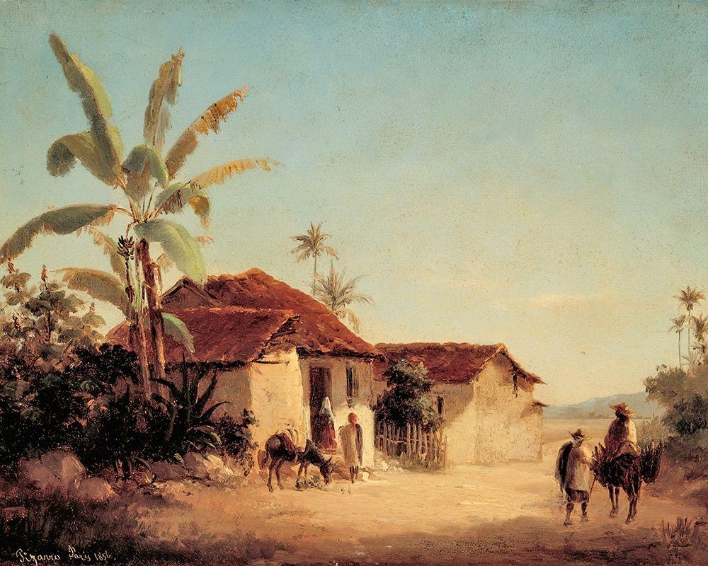 konfigurieren des Kunstdrucks in Wunschgröße Landscape with Farmhouses and Palm Trees von Pissarro, Camille
