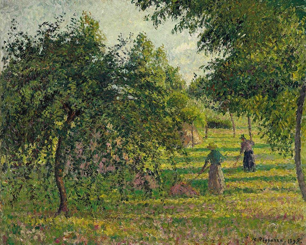 konfigurieren des Kunstdrucks in Wunschgröße Apple trees and tedders, Eragny von Pissarro, Camille