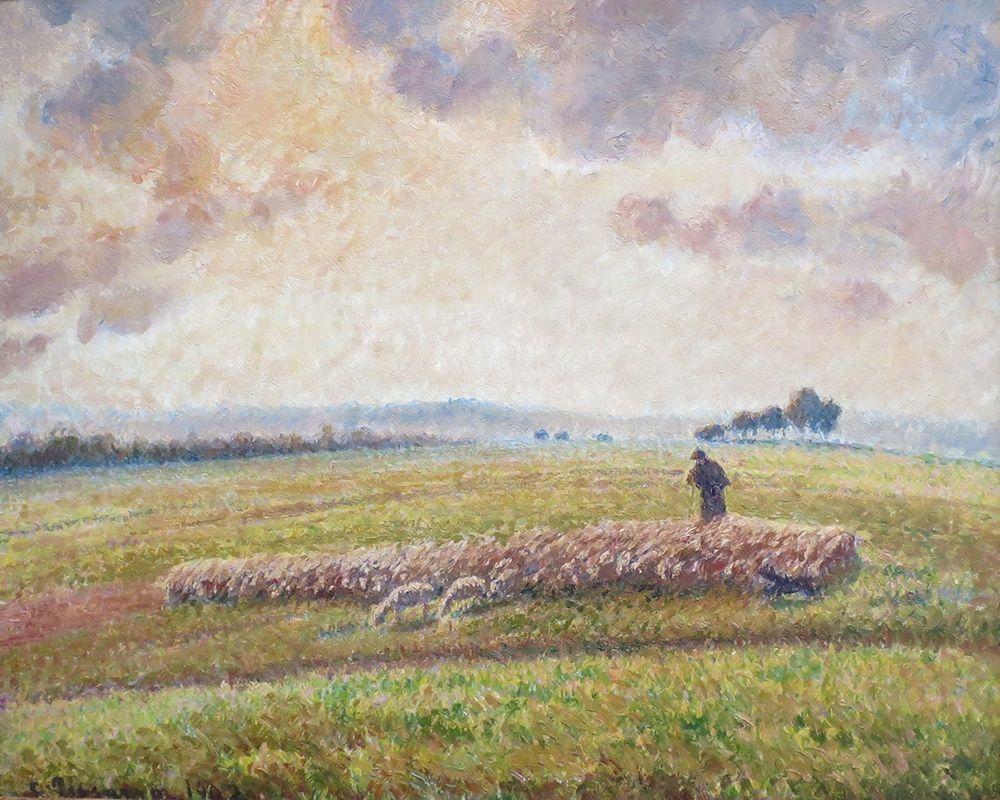 konfigurieren des Kunstdrucks in Wunschgröße Landscape with Flock of Sheep von Pissarro, Camille