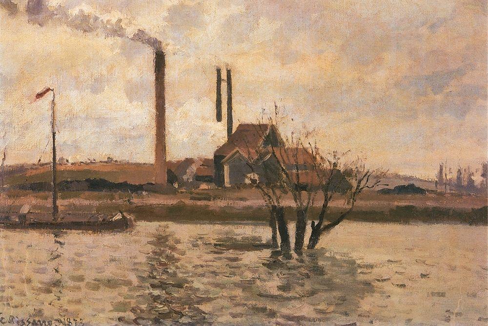 konfigurieren des Kunstdrucks in Wunschgröße Factory at Sr Ouen-lAumone, the Flood of the Oise von Pissarro, Camille
