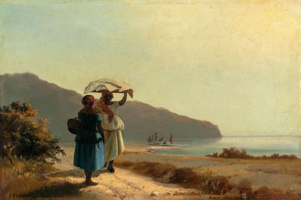 konfigurieren des Kunstdrucks in Wunschgröße Two Women Chatting by the Sea, St. Thomas von Pissarro, Camille