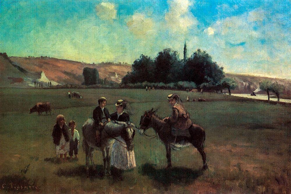 konfigurieren des Kunstdrucks in Wunschgröße Donkey ride in La Roche-Guyon von Pissarro, Camille