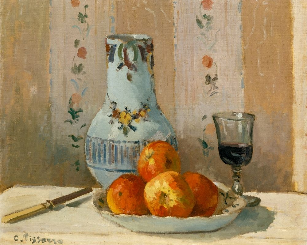 konfigurieren des Kunstdrucks in Wunschgröße Still Life with Apples and Pitcher von Pissarro, Camille