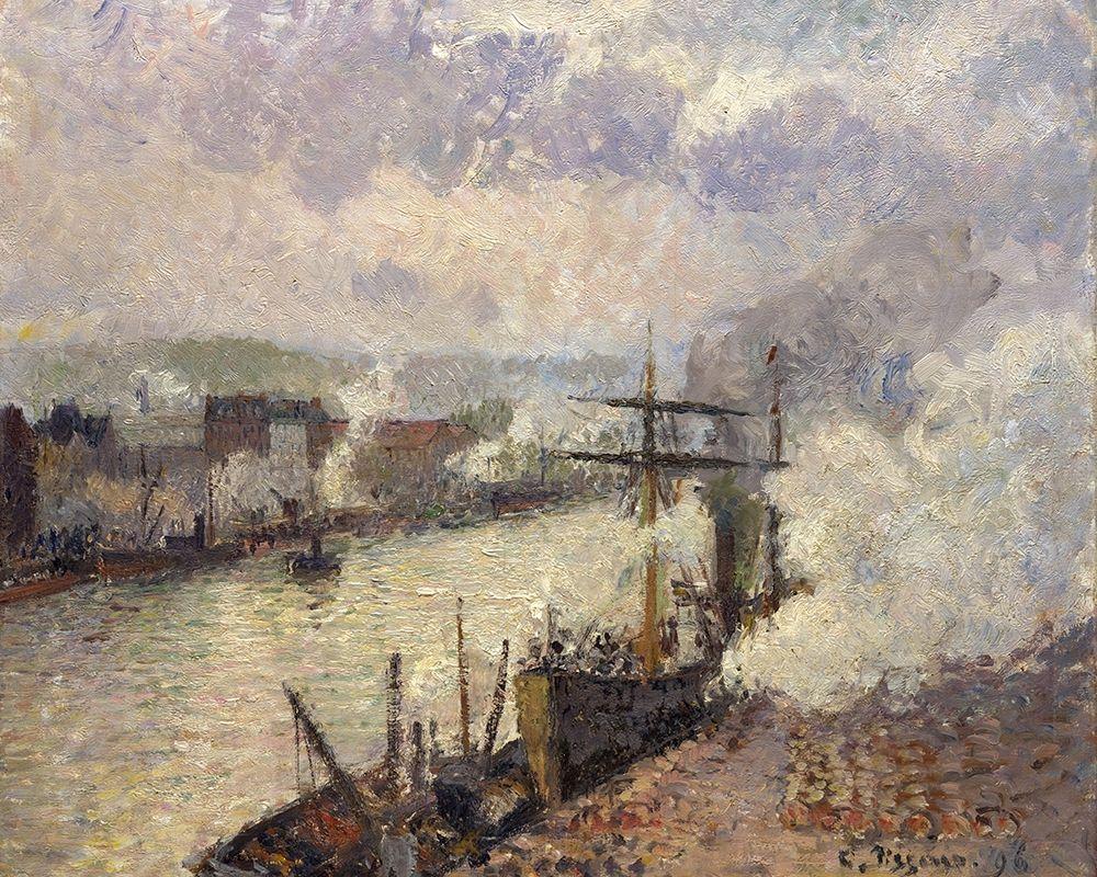 konfigurieren des Kunstdrucks in Wunschgröße Steamboats in the Port of Rouen von Pissarro, Camille