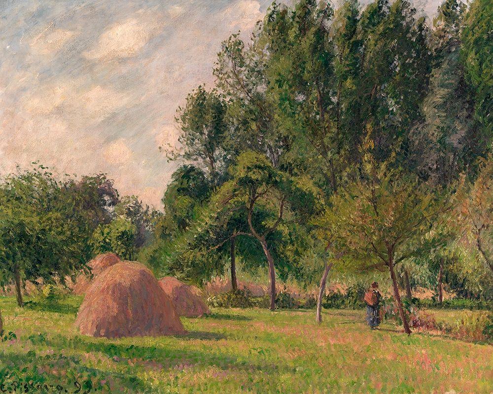 konfigurieren des Kunstdrucks in Wunschgröße Haystacks, Morning, Eragny von Pissarro, Camille