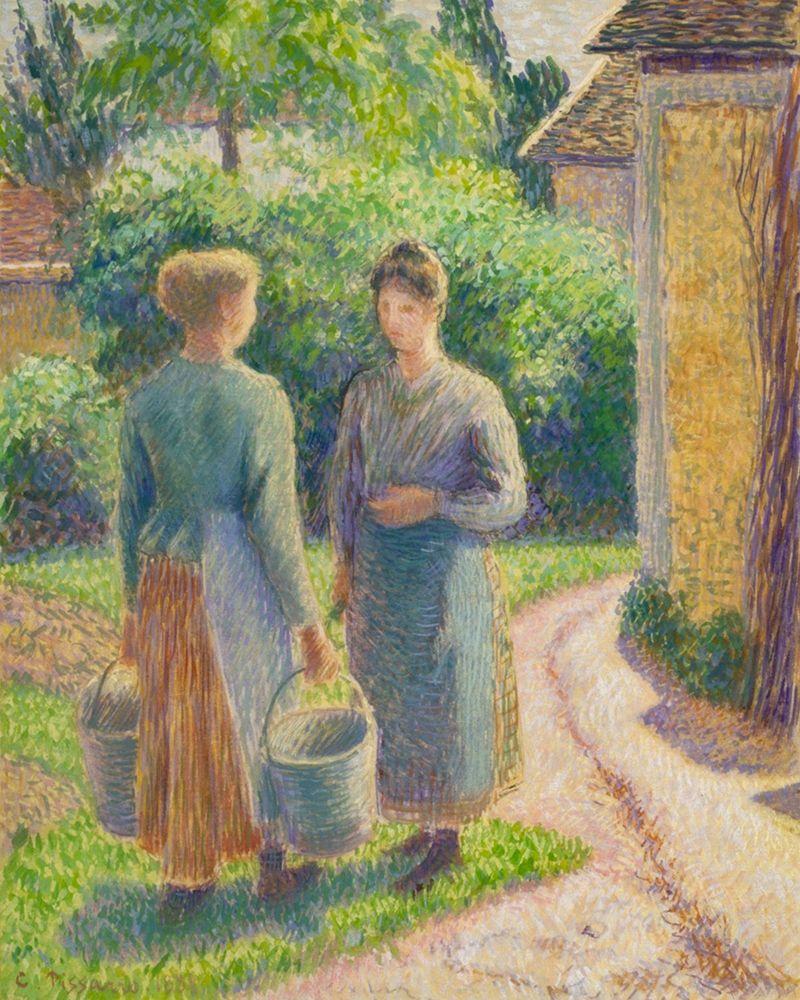 konfigurieren des Kunstdrucks in Wunschgröße Two Women in a Garden von Pissarro, Camille