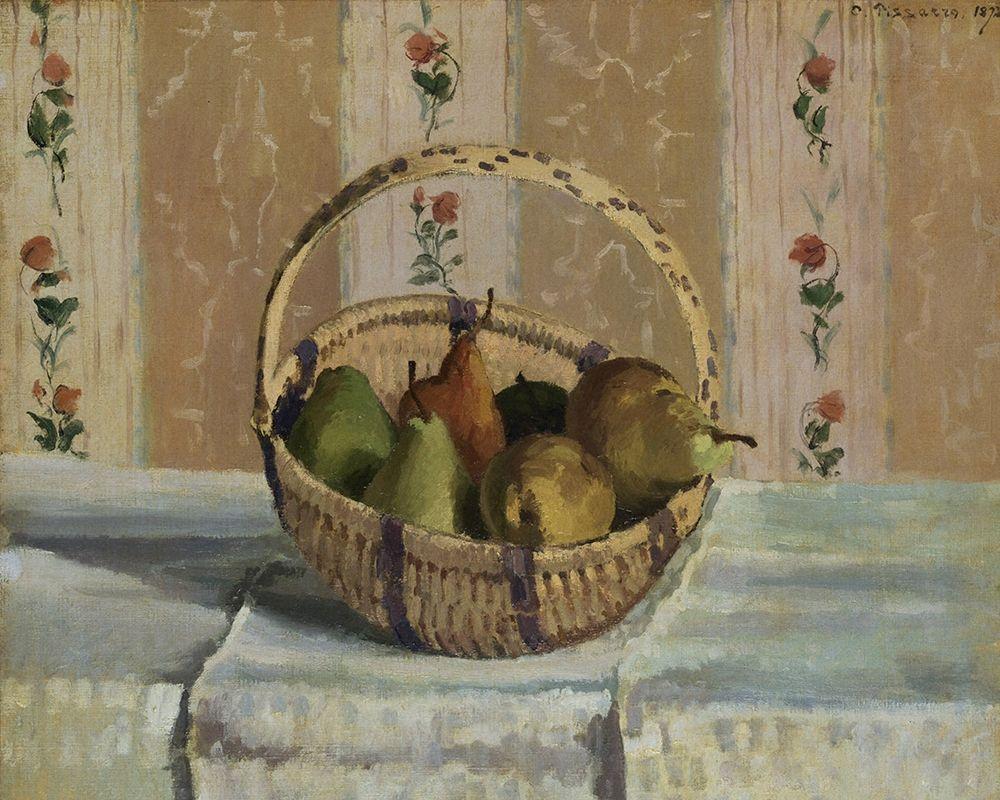 konfigurieren des Kunstdrucks in Wunschgröße Still Life. Apples and Pears in a Round Basket von Pissarro, Camille