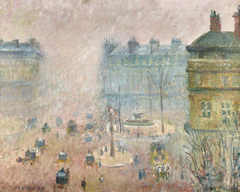 konfigurieren des Kunstdrucks in Wunschgröße Place du Theatre Francais, Fog Effect von Pissarro, Camille