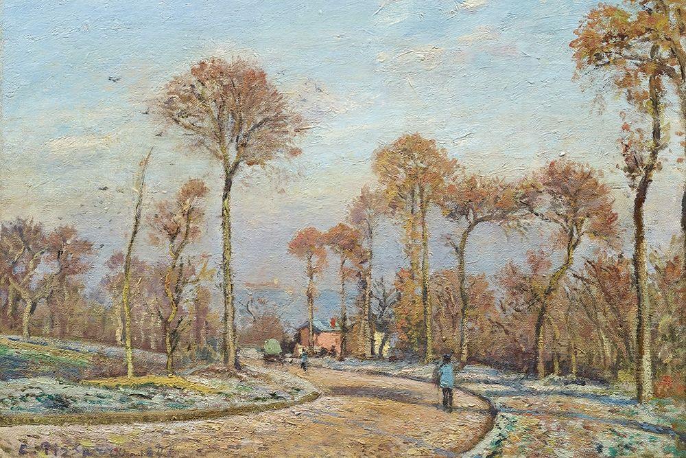 konfigurieren des Kunstdrucks in Wunschgröße The Road to Versailles, Louveciennes, Morning Frost von Pissarro, Camille