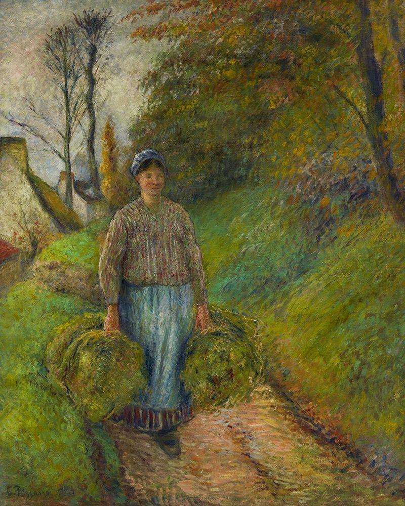 konfigurieren des Kunstdrucks in Wunschgröße Peasant Woman Carrying Two Bundles of Hay von Pissarro, Camille