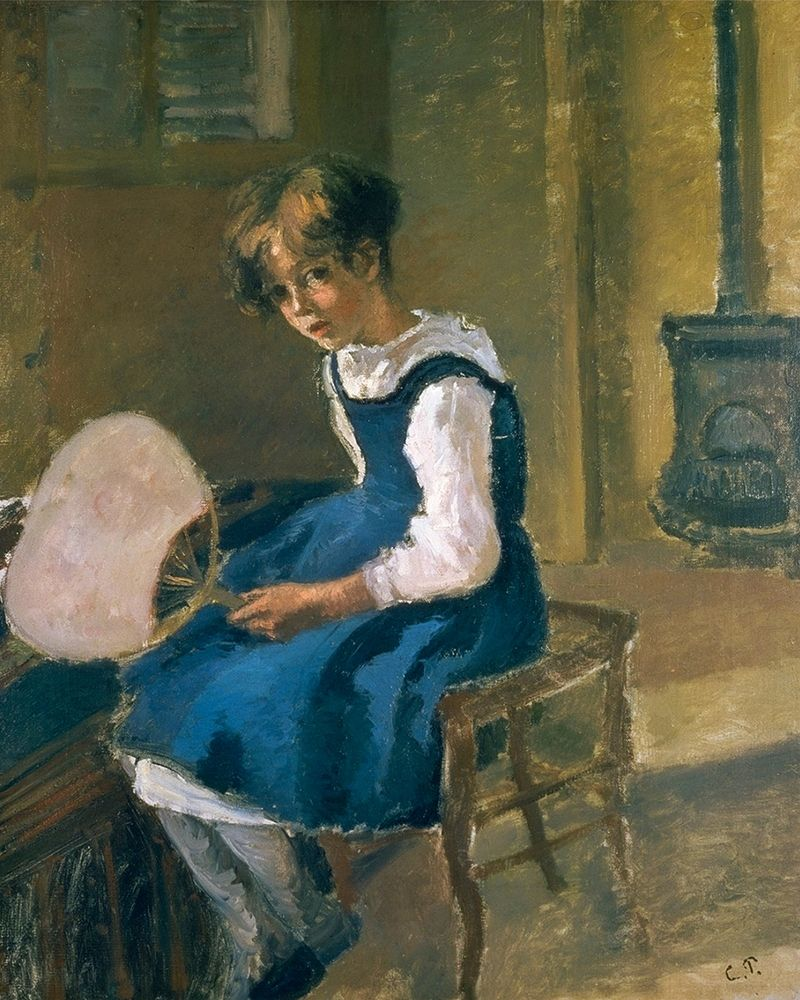 konfigurieren des Kunstdrucks in Wunschgröße Jeanne Pissarro Called Minette Holding a Fan von Pissarro, Camille