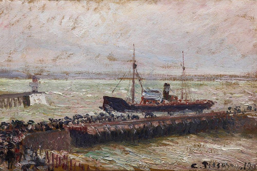 konfigurieren des Kunstdrucks in Wunschgröße Entrance to the Harbour at Le Havre, Overcast Sky von Pissarro, Camille