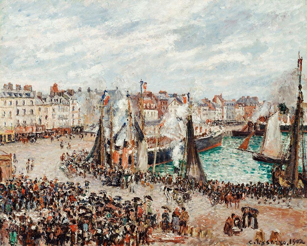konfigurieren des Kunstdrucks in Wunschgröße The Fish Market, Dieppe:,Grey Weather, Morning von Pissarro, Camille