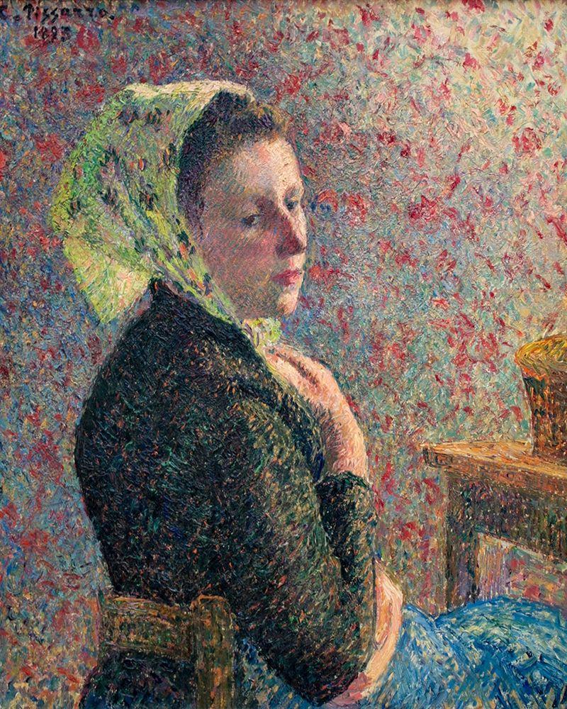konfigurieren des Kunstdrucks in Wunschgröße Woman with green scarf von Pissarro, Camille