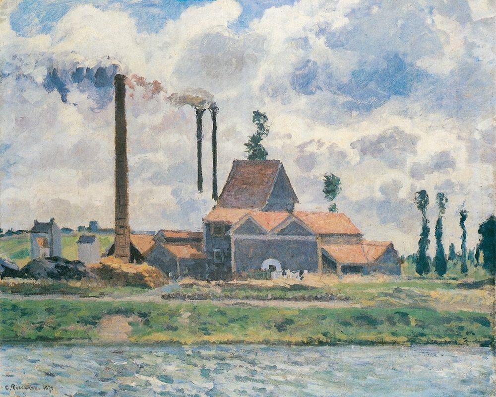 konfigurieren des Kunstdrucks in Wunschgröße Factory at Saint-Ouen-lAumone von Pissarro, Camille